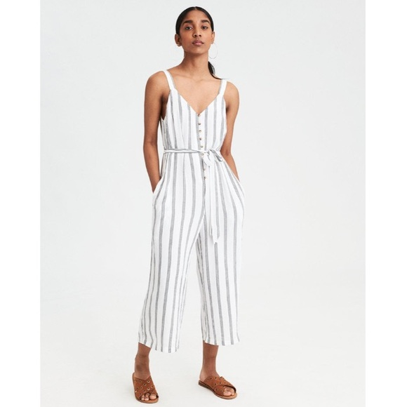 d6dc6c750f9 AE Striped Button-Front Culotte Jumpsuit